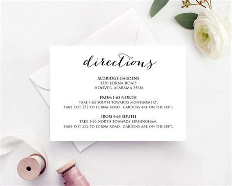 Wedding Directions Card · Wedding Templates and Printables