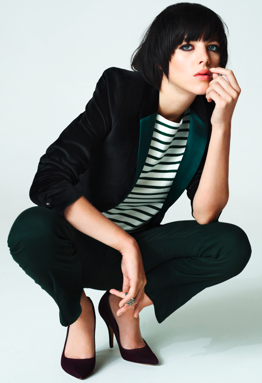 LE FASHION BLOG MIH JEANS LOOK BOOK PRE FALL FALL 2012 2013 VELVET TUX JACKET GREEN SILK LAPELS HUNTER DARK GREEN DENIM BURGUNDY HEELS STRIPE STRIPED SHIRTCLASSIC BASICSn