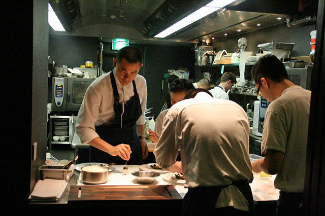 The cool sleek kitchen at Andre's