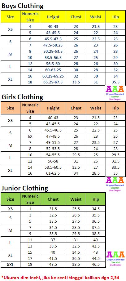 Tabel Ukuran Baju Anak AAA Stocklot