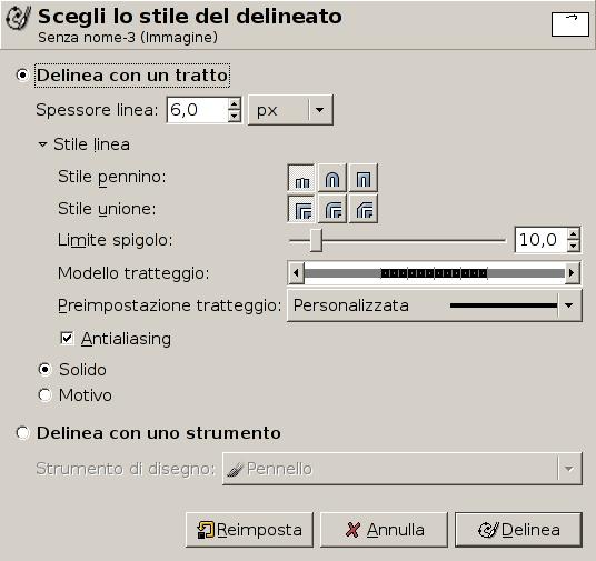La finestra di dialogo Scegli lo stile della delineatura