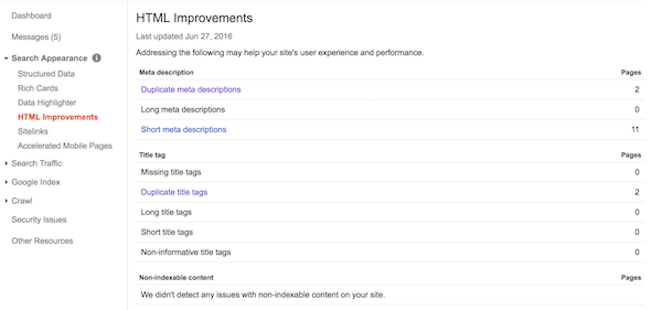 Search Console HTML Improvements
