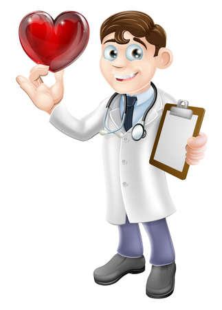 Ilustración de dibujos animados de un joven médico sosteniendo un símbolo en forma de corazón. Concepto para un cardiólogo o cardiólogo o un médico de cuidado o un buen cuidado de los pacientes. Foto de archivo - 22139124