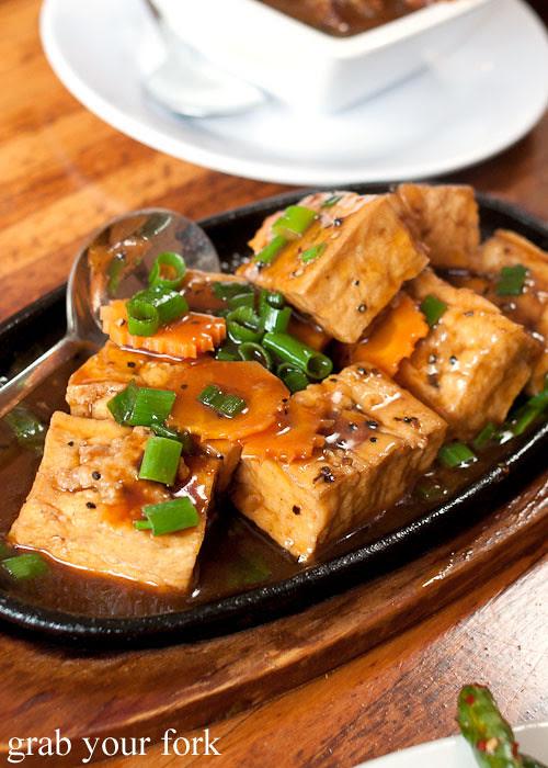 tofu stuffed with pork mince at taipei chef, artarmon