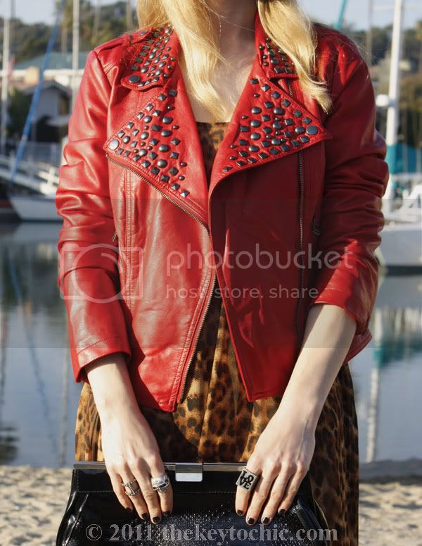 Forever 21 red studded moto biker jacket, leopard high low hem dress, Sam Edelman Louie boots, California fashion blog, Los Angeles fashion blog