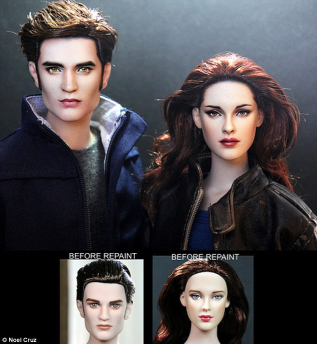 Twilight: Edward Cullen and Bella Swan - aka Robert Pattinson and Kristen Stewart - before and after Noel Cruz's repaint