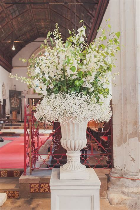 Large Urn Arrangement of Gypsophila and Delphinium
