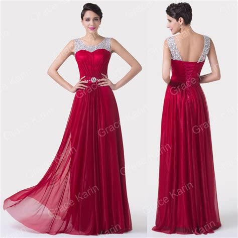 dark red maxi evening gown bridesmaid prom dresses wedding