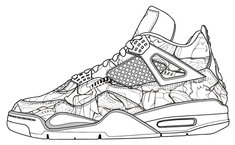 Jordan Shoes Coloring Page - Coloring Home