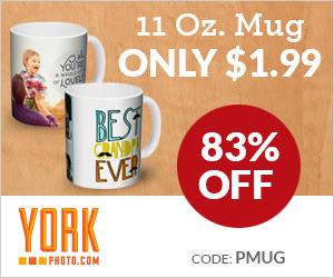 Custom 11 OZ. Photo Mug – Just $1.99 + 40 Free Prints!