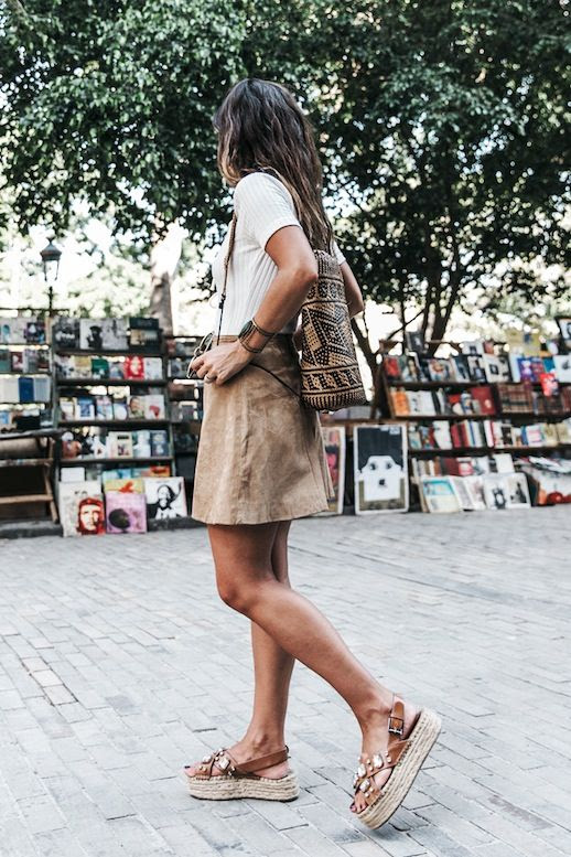 Le Fashion Blog Blogger Style Modern Boho Summer Look Ombre Hair White Ribbed Tee Woven Backpack Brown Suede Skirt Jewel Embellished Platform Sandals Via Collage Vintage