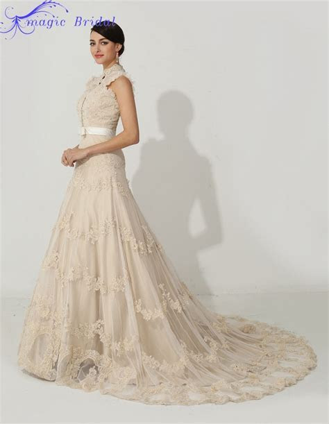 Elegant High Neck Champagne Lace Wedding Dress A Line