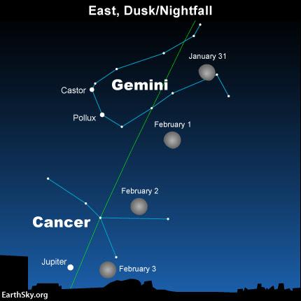 Debido a que la Luna orbita la Tierra en dirección hacia el este, se encuentra la luna más al este en relación con las estrellas telón de fondo en un período de 24 horas.  La línea verde muestra la eclíptica - la línea central del Zodíaco.