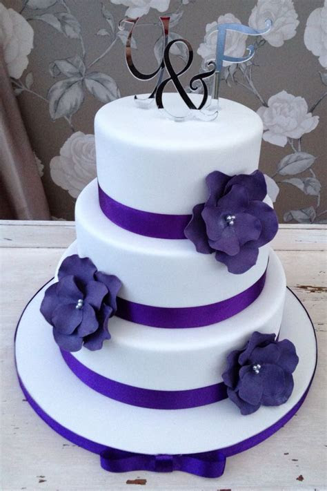 White and Cadbury purple wedding cake   ? ?MY WEDDING ? ?