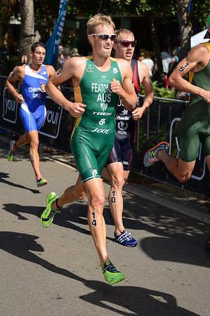 Jesse Featonby - 2015 Mooloolaba ITU Triathlon World Cup Men - 2015 Mooloolaba Triathlon Multi Sport Festival, Sunshine Coast, Qld, AUS; Saturday 14 March 2015. Photos by Des Thureson - http://disci.smugmug.com. Camera 1.