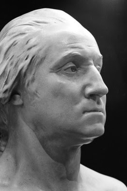 A bust of George Washington by Jean-Antoine Houdon.