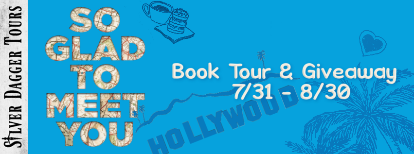 Book Tour Banner for the young adult contemporary romance So Glad to Meet You by Lisa Super with a Book Tour Giveaway