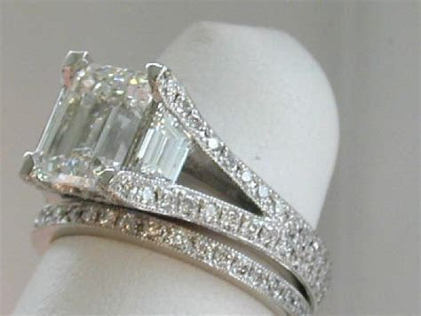Hand Crafted 3 Stone Emerald Cut Split Shank Pave Ring