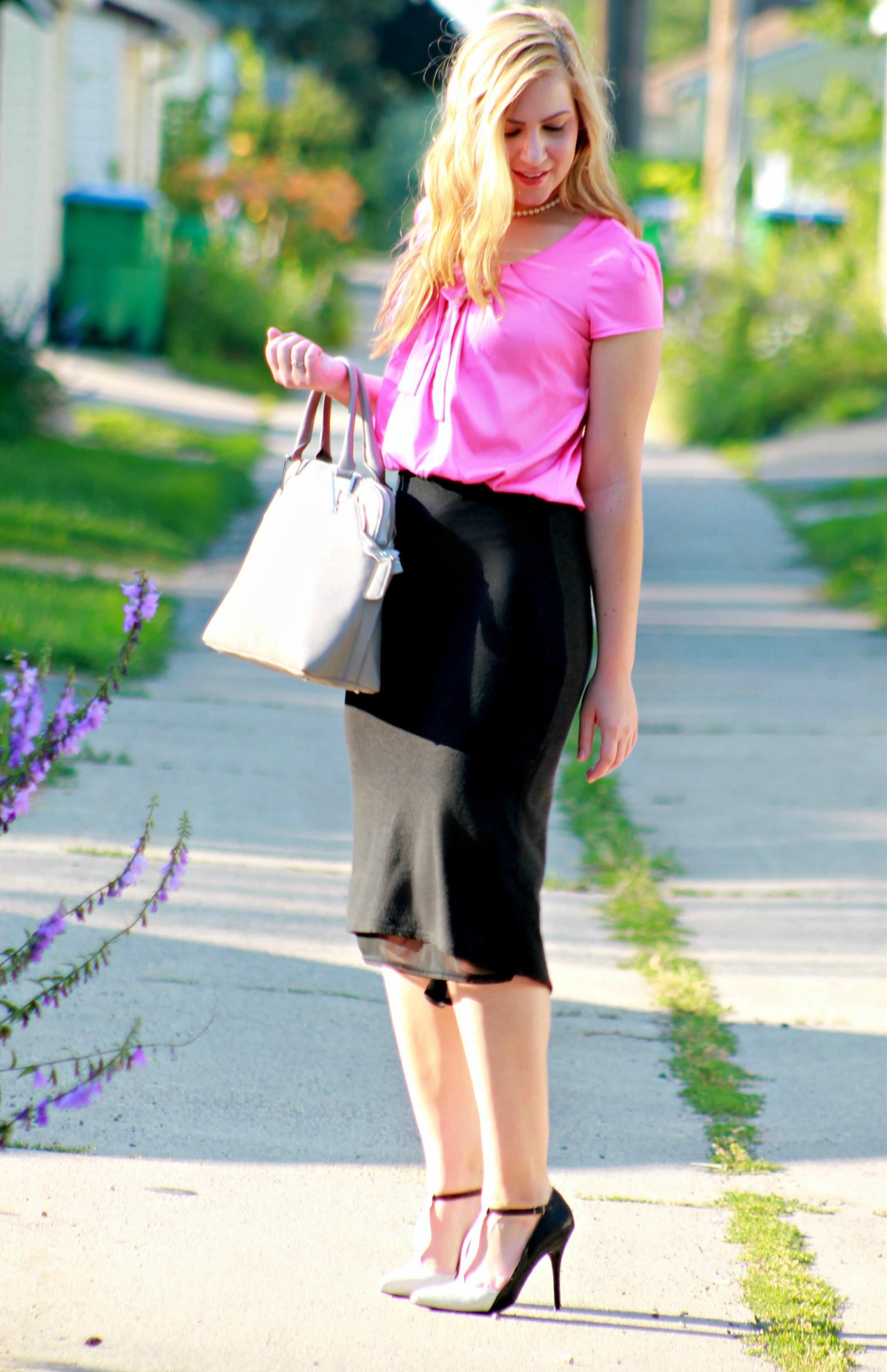 pink bow blouse  midi skirt  rachel's lookbook