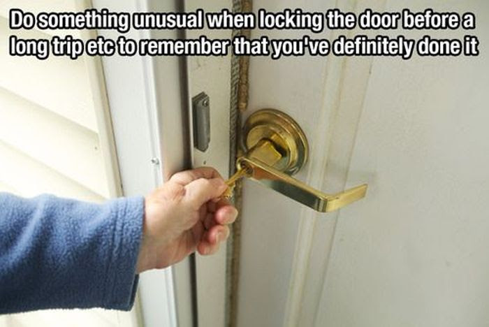 do something unusual when locking the door