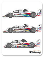 Calcas 1/24 Shunko Models - Peugeot 905 Evo1 Esso - Nº 1, 2, 3, 5, 6 - Dalmas + Warwick + Blundell, Alliot + Baldi + Jabouille, Ferte + Van de Poele + Wndlinger - 24 Hours Le Mans 1991 - 1993 para kit de Heller 80718