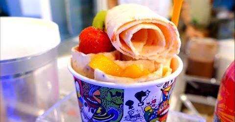 Cách làm kem cuộn trái cây Thái lan| Thailand Streetfood | Cheat day treat