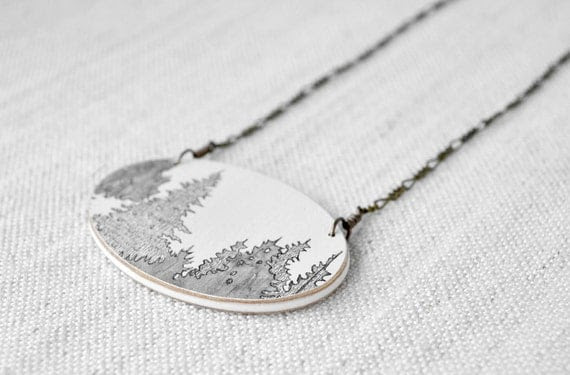 Canopy Necklace in Grey and Graphite - Hand Drawn Tree Pendant with Brass Chain