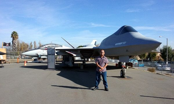 Posing with the YF-23 Gray Ghost (and the F-14 Tomcat behind it) at the Western Museum of Flight in Torrance, CA...on November 23, 2016.
