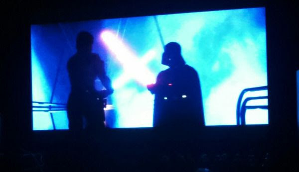 Luke Skywalker and Darth Vader clash in THE EMPIRE STRIKES BACK...during a viewing of the movie on December 13, 2015.
