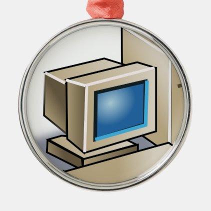 Retro Computer Metal Ornament