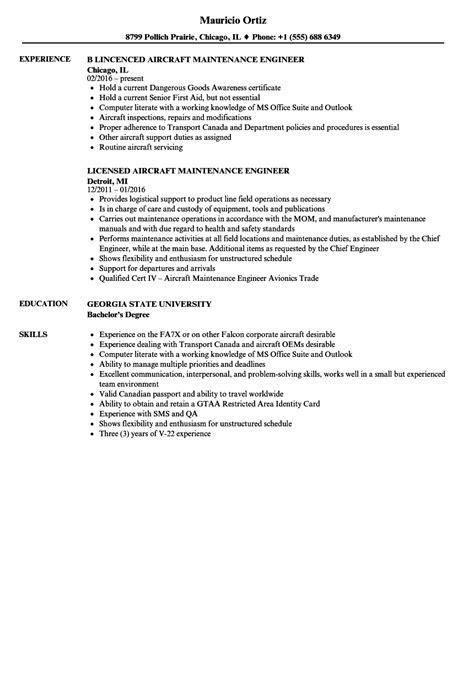 Aircraft Maintenance Engineer Resume Samples | Velvet Jobs