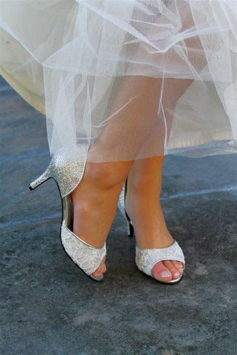 Wedding Shoes Silver Gold Metallic D'orsay Peep Toe Low
