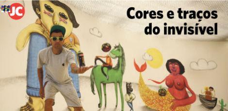 Galo de Souza pintou um novo painel na Galeria Janete Costa durante residência artística / André Nery/JC Imagem