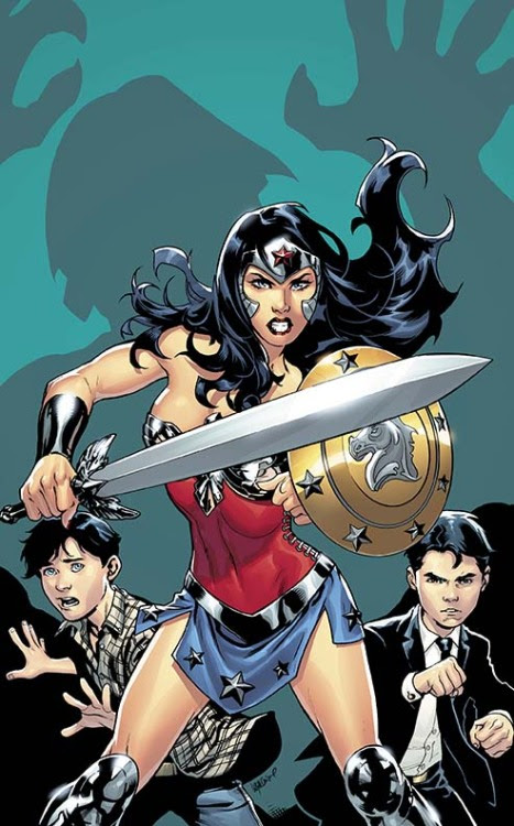Wonder Woman defending a young Bruce and Clark - click to see more comic book art