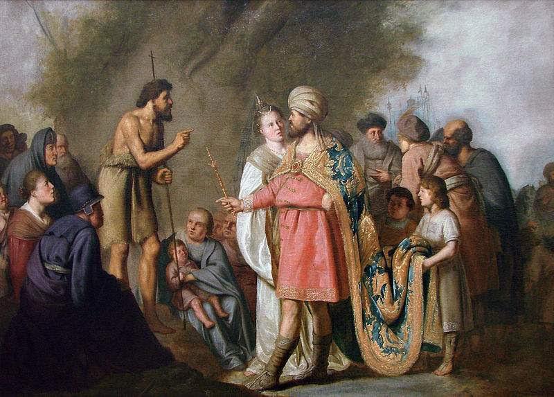Saint John the Baptist preaching before Herod, painted by Pieter de Grebber.