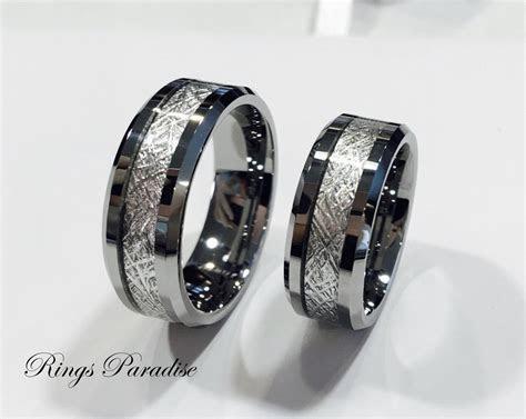 Men's Tungsten Wedding Band Meteorite Inlay Ring by