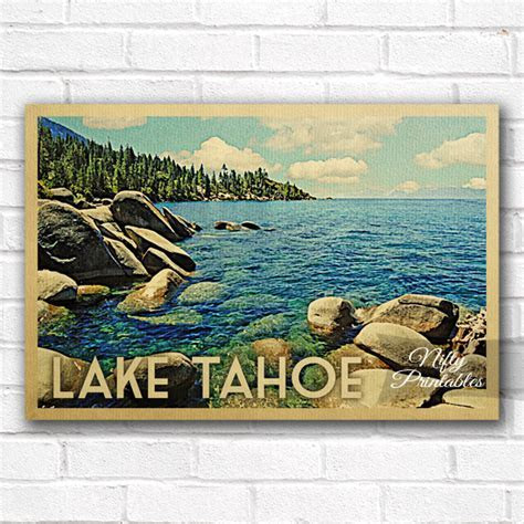 Lake Tahoe Vintage Travel Poster   Nifty Printables