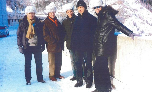 Siberian visit: Sebastian Taylor, Peter Munk, Nathaniel Rothschild, pictured centre with Oleg Deripaska, seciond right and Peter Mandelson, far right, during the visit to the Siberia