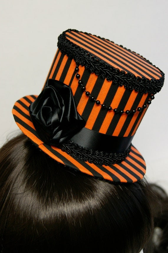 Halloween Orange and Black Striped Rose Gothic Mini Top Hat - Made to Order
