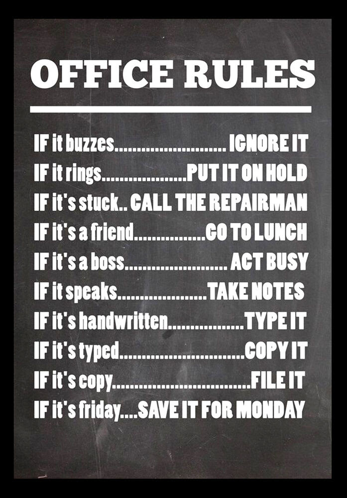-A3- office rules INSPIRATIONAL MOTIVATIONAL QUOTE POSTER ...