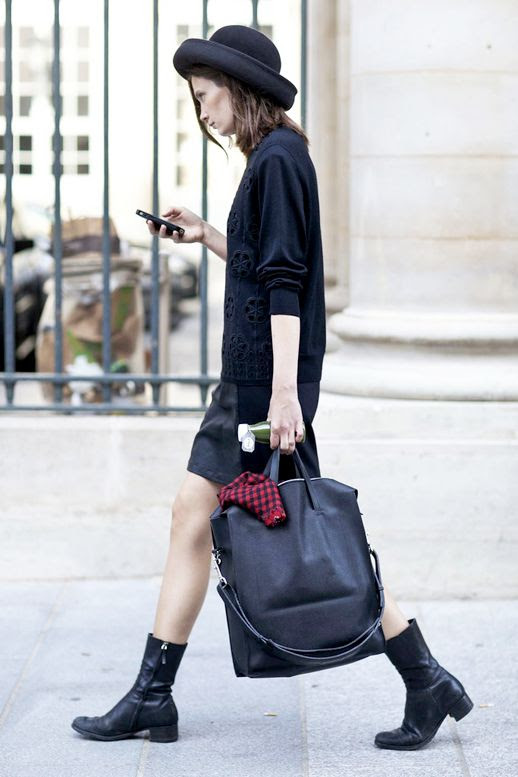 Le Fashion Blog Street Style All Black Look Pfw Hat Sweater Large Leather Tote Bag Short Skirt Combat Boots Via Popsugar