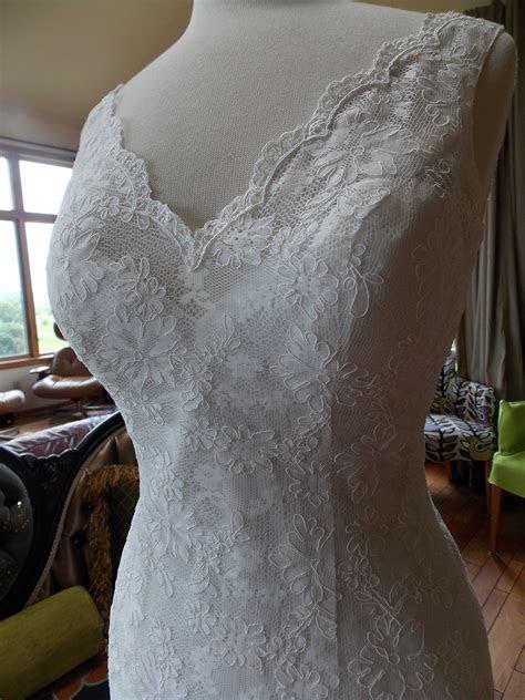 Alencon lace and slinky charmuese/wedding dress 1930s