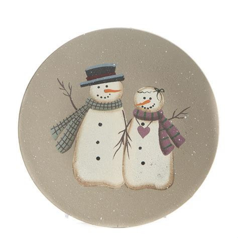 Primitive Wood Snowman Couple Plate   Christmas and