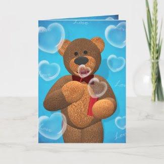 Dinky Bear blowing Heart Bubbles card