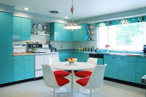 1950s retro atomic red and aqua kitchen