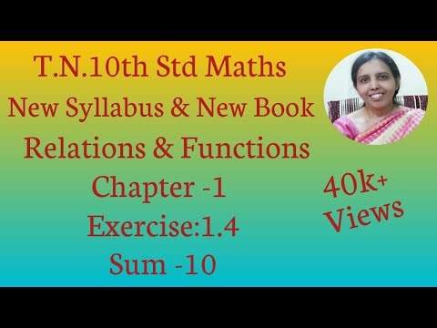 10th std Maths New Syllabus (T.N) 2019 - 2020 Relations & Functions Ex:1.4-10