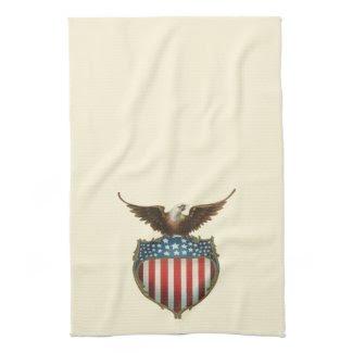 Vintage Patriotic, American Flag with Bald Eagle Towel