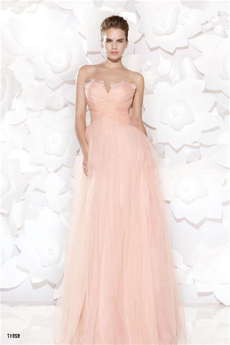 Illusion Neckline Empire Waist Long Blush Pink Tulle Lace