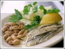 Fresh Anchovies with Lemon Sprigs and Roasted Almonds