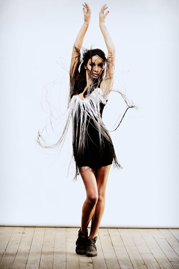 Shine By Three, Fashion Editorial, Fringe Dress